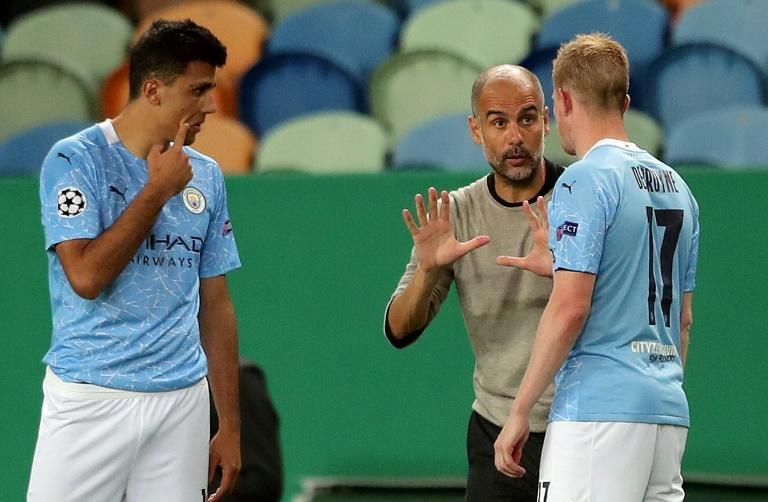 In four previous seasons together, Pep Guardiola (centre) and Kevin De Bruyne (right) have not progressed beyond the Champions League quarter-finals