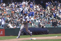 Los Angeles Dodgers' Gavin Lux rounds the bases after hitting grand slam against the San Francisco Giants during the third inning of a baseball game in San Francisco, Sunday, May 23, 2021. (AP Photo/Jeff Chiu)