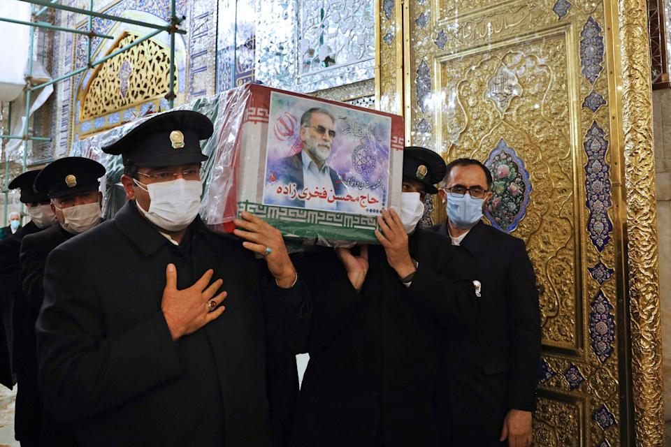 <p>A funeral service for Mohsen Fakhrizadeh was held in Tehran</p> (Iranian Defense Ministry via AP)