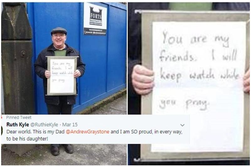 'Not All Heroes Wear Capes': UK Man Guards Mosque With 'You Are My Friends' Placard