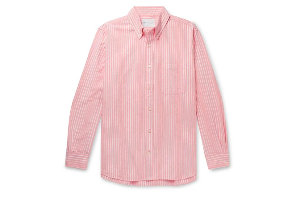 "$165, Mr Porter. <a href=""https://www.mrporter.com/en-us/mens/product/adsum/clothing/striped-shirts/button-down-collar-striped-cotton-oxford-shirt/11813139151852360"" rel=""nofollow noopener"" target=""_blank"" data-ylk=""slk:Get it now!"" class=""link rapid-noclick-resp"">Get it now!</a>"