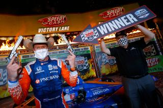 <em>Scott Dixon correctly was identified as the winner of Saturday night's race at Texas Motor Speedway by track president Eddie Gossage (Tom Pennington/Getty Images).</em>