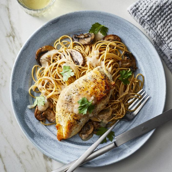 """<p>This slow-cooker chicken Marsala recipe gets its full flavor from plenty of mushrooms and fragrant shallots. Whole-wheat pasta soaks up the rich sauce. Round it out with a simple green salad for a comforting healthy dinner. <a href=""""https://www.eatingwell.com/recipe/277663/slow-cooker-chicken-marsala/"""" rel=""""nofollow noopener"""" target=""""_blank"""" data-ylk=""""slk:View Recipe"""" class=""""link rapid-noclick-resp"""">View Recipe</a></p>"""