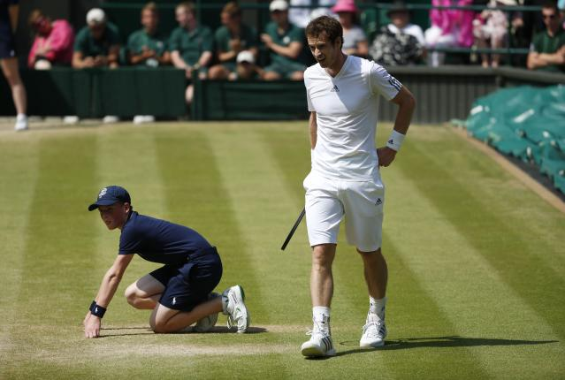 Great Britain's Andy Murray in his Men's Final against Serbia's Novak Djokovic during day thirteen of the Wimbledon Championships at The All England Lawn Tennis and Croquet Club, Wimbledon.