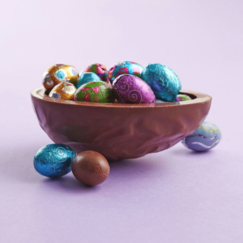 Half Shell Egg with Milk Chocolate Mini Foiled Eggs. Image via Purdy's.