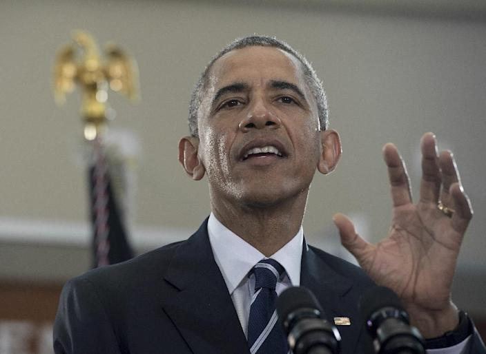 US President Barack Obama gathered national security advisors to weigh accelerated training and weapons supplies for Iraqi tribes, hoping for a rapid counteroffensive to retake Ramadi from the Islamic State group (AFP Photo/Nicholas Kamm)