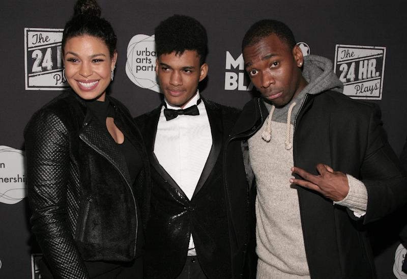 From left, singer Jordin Sparks, writer Devin Mojica and comedian Jay Pharoah attend the 24 Hour Plays on Broadway after party on Monday, Nov. 18, 2013 in New York. (Photo by Andy Kropa/Invision/AP)