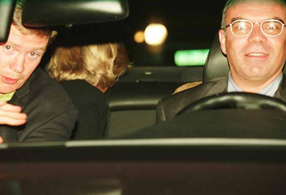 Henri Paul and bodyguard Trevor Rees-Jones, left, with Diana seen in the back (Rex),