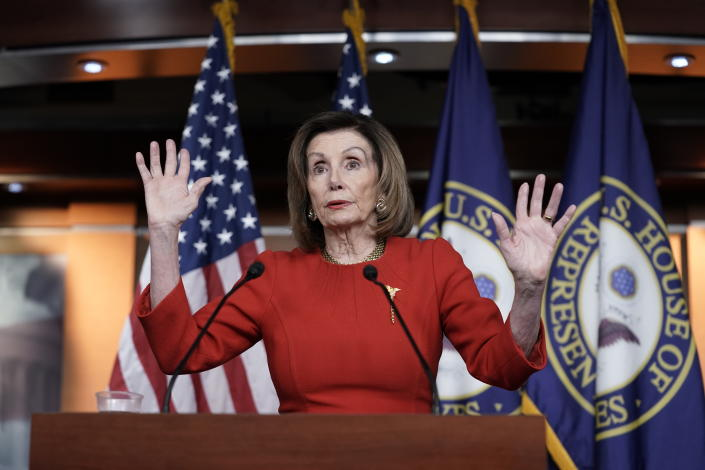 Pelosi meets with reporters at the Capitol on Dec. 19, 2019, the day after the House of Representatives voted to impeach Trump. (J. Scott Applewhite/AP)