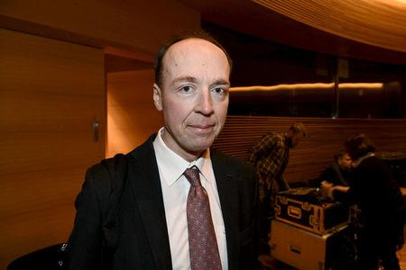Jussi Halla-aho, a member of the European Parliament and the Finns party, attends the party meeting in Helsinki