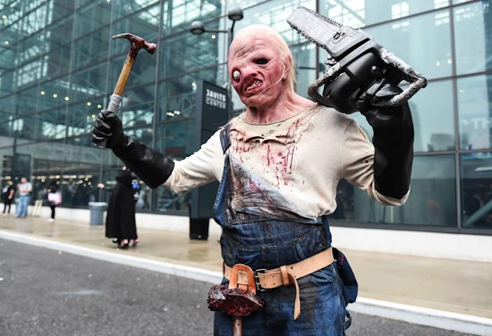 """<div class=""""inline-image__caption""""><p>A cosplayer poses during New York Comic Con 2019 on October 03, 2019 in New York City.</p></div> <div class=""""inline-image__credit"""">DANIEL ZUCHNIK/Getty</div>"""