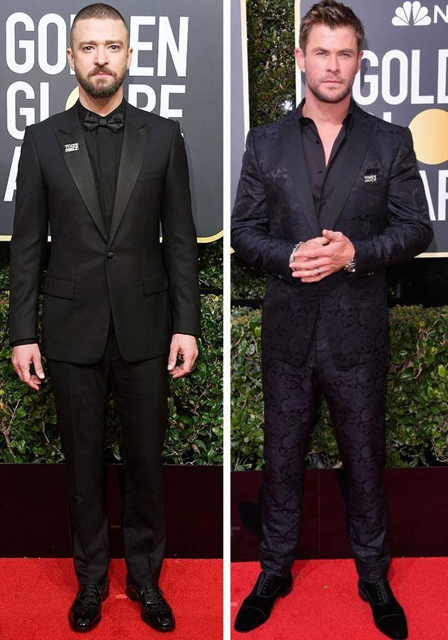 Justin Timberlake and Chris Hemsworth also dressed in all black and wore 'Time's Up' pins. Photo: Getty