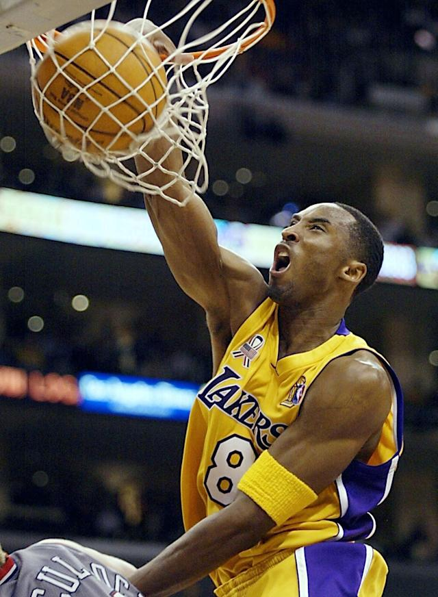 Kobe Bryant won five NBA championships in his 20-season career with the Los Angeles Lakers.