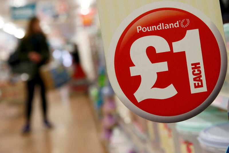 FILE PHOTO: A sign is seen in a Poundland store in London