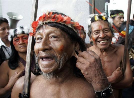 An Ecuadorean Huaorani man shows a hole in his ear during a protest against Petrobras Petroleum Company in Quito October 31, 2007.