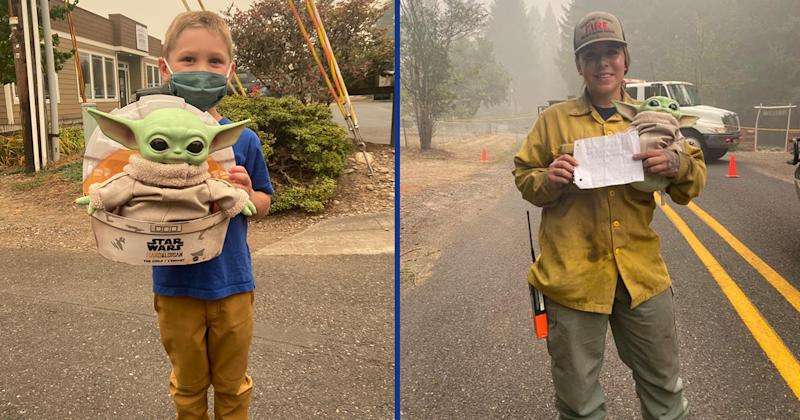 5-Year-Old Gifts Baby Yoda Toy To Firefighters Battling Oregon Wildfires