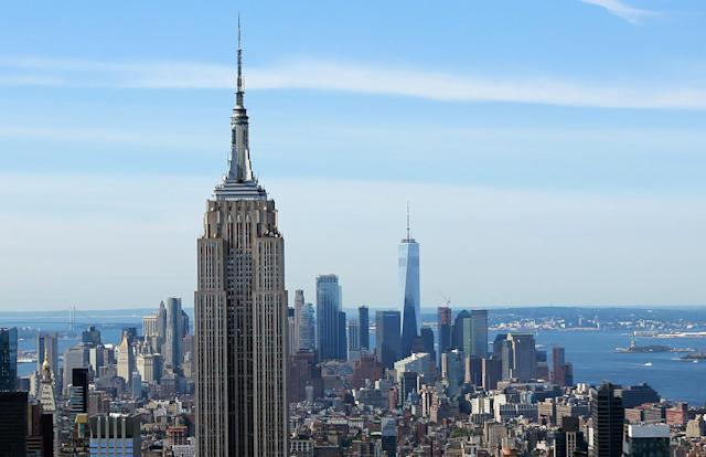 <p>One World Trade Center is seen towering above the landscape in lower Manhattan behind the Empire State Building, Sept. 1, 2017. (Photo: Gordon Donovan/Yahoo News) </p>