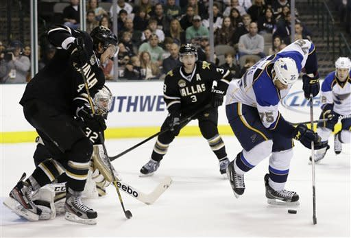 Dallas Stars' Brenden Dillon helps goalie Kari Lehtonen (32) of Finland against pressure from St. Louis Blues' Ryan Reaves (75) in the second period of an NHL hockey game Sunday, March 3, 2013, in Dallas. The Stars' Stephane Robidas (3) watches on the play. (AP Photo/Tony Gutierrez)