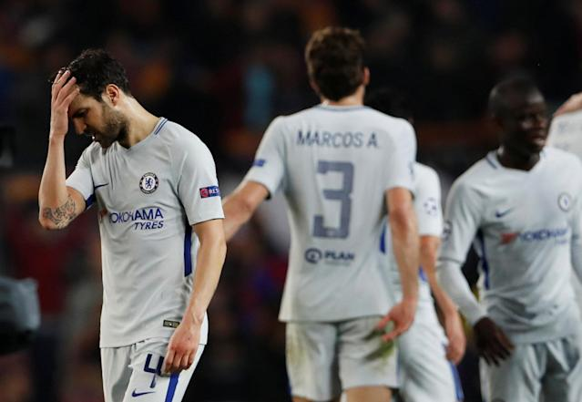 Soccer Football - Champions League Round of 16 Second Leg - FC Barcelona vs Chelsea - Camp Nou, Barcelona, Spain - March 14, 2018 Chelsea's Cesc Fabregas and team mates look dejected after the match Action Images via Reuters/Lee Smith