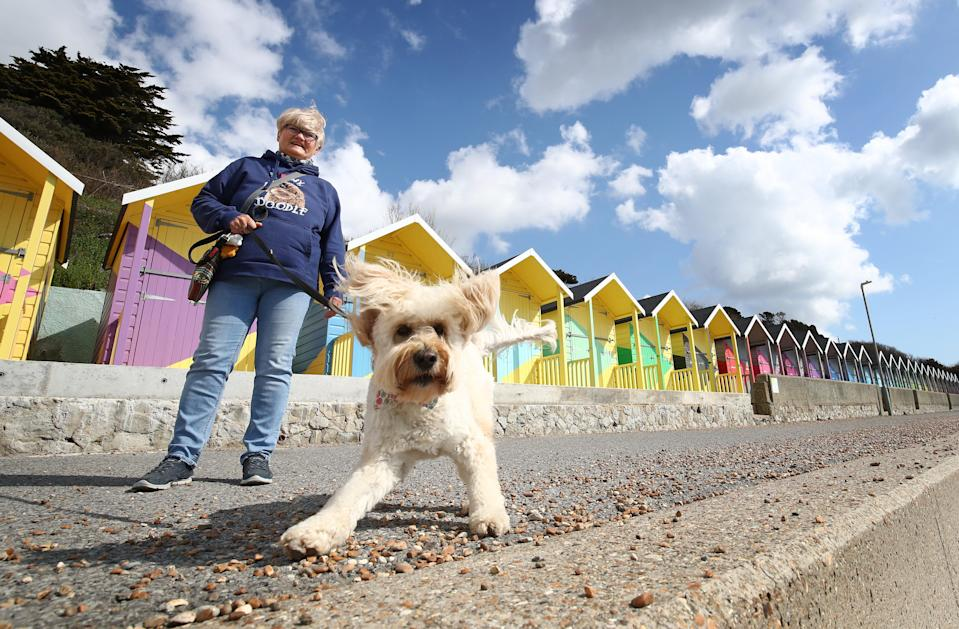 Angela Dillon takes Lily, a Miniature Goldendoodle, for a walk in the sunshine past the newly refurbished beach huts in Folkestone, Kent (PA Wire)
