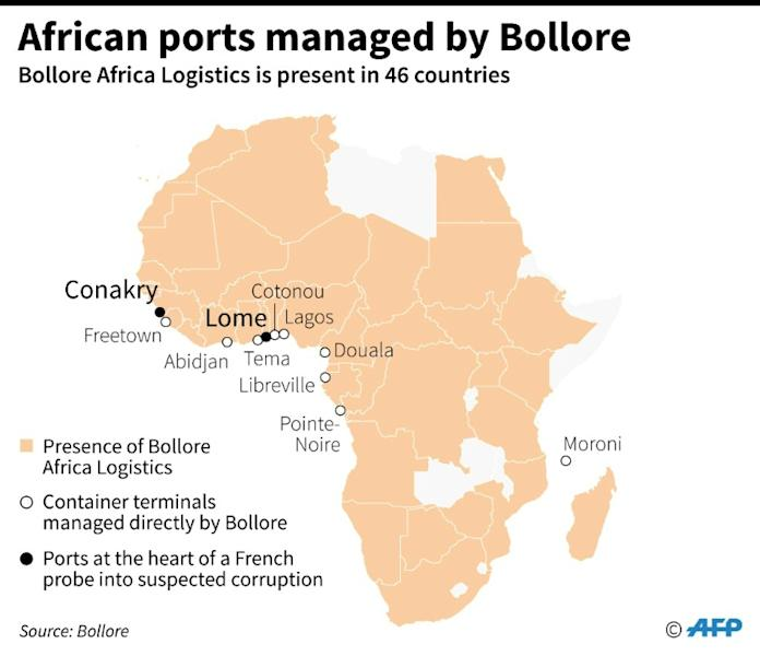 Map of Africa locating ports managed by French industrialist Vincent Bollore, who is being held for questioning by anti-corruption police in France