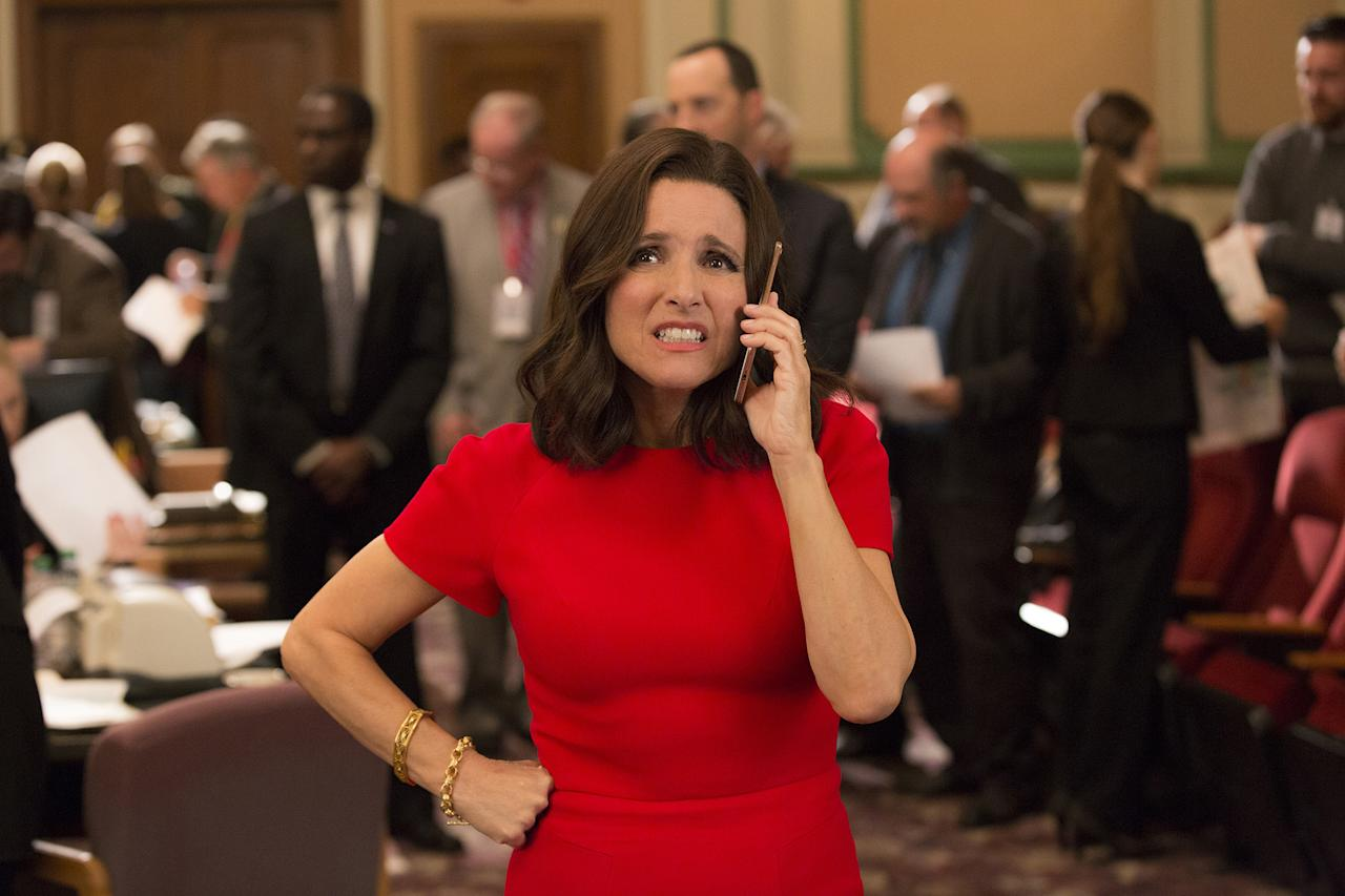 """<p>Guess we won't be hearing """"Hail to the Chief"""" at this year's ceremony. And not just because Selina Meyer isn't POTUS anymore — although that could change in the show's seventh and final season. No, both <i>Veep </i>and its leading lady, Julia Louis-Dreyfus, missed out on anticipated nominations in their respective comedy categories. Any chance we can add them to the ballot as write-in candidates? (Photo: HBO) </p>"""