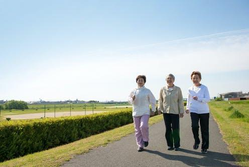 """<span class=""""caption"""">Around 30% of people with peripheral artery disease experience leg pain, numbness, or tingling while walking.</span> <span class=""""attribution""""><a class=""""link rapid-noclick-resp"""" href=""""https://www.shutterstock.com/image-photo/elderly-woman-asian-three-people-walking-190921244"""" rel=""""nofollow noopener"""" target=""""_blank"""" data-ylk=""""slk:beeboys/ Shutterstock"""">beeboys/ Shutterstock</a></span>"""