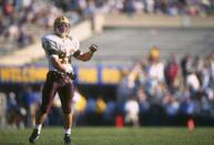 Linebacker Pat Tillman of the Arizona State Sun Devils celebrates during a game against the UCLA Bruins at the Rose Bowl in Pasadena, California. Arizona State won the game, 42-34. (Photo by J.D. Cuban /Allsport)