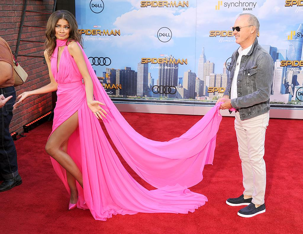 <p>Zendaya had a very recognizable personal assistant at the red carpet premiere in Hollywood for her new movie <i>Spider-Man: Homecoming</i>. It was none other than one of her co-stars, Keaton! (Photo: Gregg DeGuire/WireImage) </p>