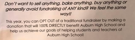 Auburn High School in Alabama allows parents to opt out of fundraisers and bake sales. (Photo: Briana Leggett Woods via Facebook)