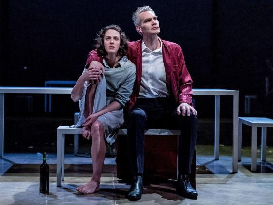 Jessica Brown Findlay and Angus Wright in 'Oresteia' at the Trafalgar Studios, 2015 (Manuel Harlan)