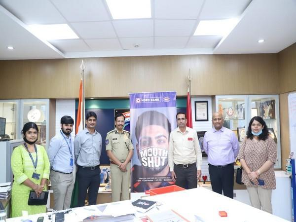 HDFC bank officials meeting Cyberabad Police Commissioner VC Sajjanar on Monday. Photo/ANI