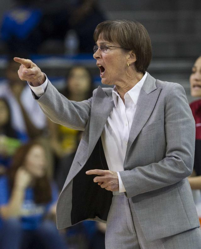 Stanford head coach Tara VanDerveer encourages his team against UCLA in the first half of an NCAA college basketball game, Sunday, Feb. 23, 2014 in Los Angeles. (AP Photo/Ringo H.W. Chiu)