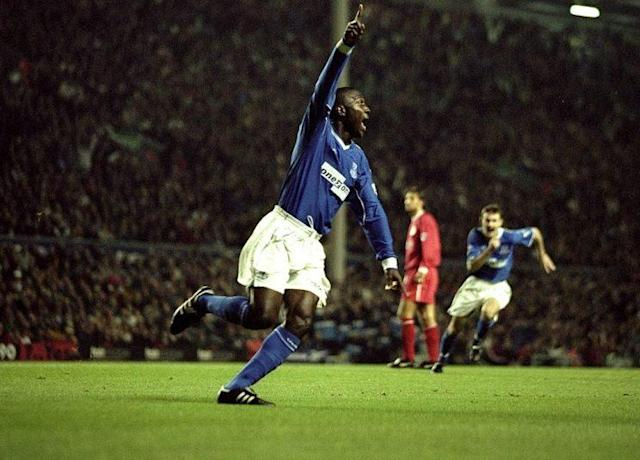 Kevin Campbell of Everton salutes his 4th minute goalin 1999 when the Toffees won 1-0 at Anfield