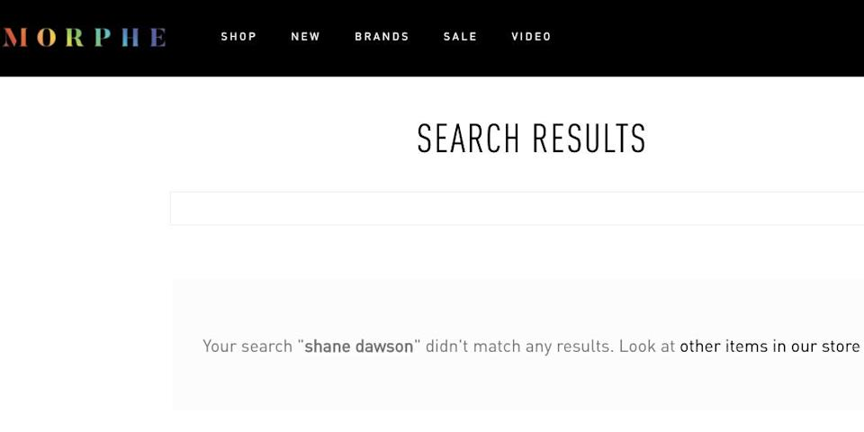 The Morphe website no longer shown Dawson's products.