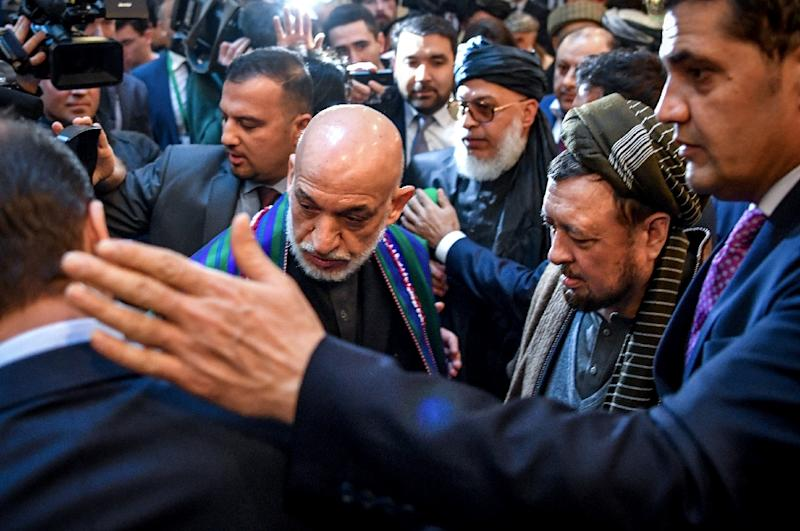 Former Afghan president Hamid Karzai was among the participants at the unprecedented meeting with the Taliban (AFP Photo/Yuri KADOBNOV)