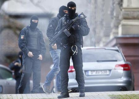 German special police forces SEK stand guard outside the building of the German Federal Supreme Court in Karlsruhe