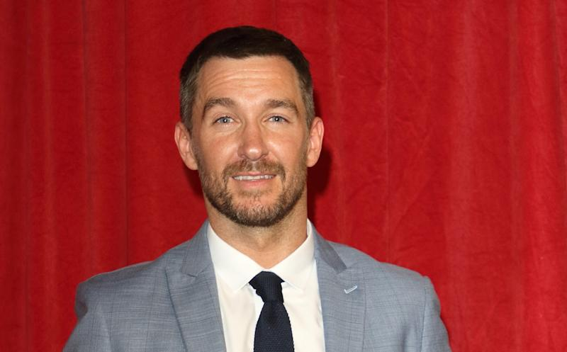 Anthony Quinlan arrives on the red carpet during The British Soap Awards 2019 at The Lowry, Media City, Salford in Manchester. (Photo by Keith Mayhew / SOPA Images/Sipa USA)