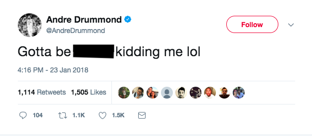 Andre Drummond was not happy about his All-Star snub. (Screenshot via @AndreDrummond on Twitter)