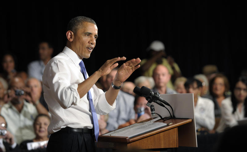 President Barack Obama speaks at a campaign event at the Century Village in West Palm Beach, Fla., Thursday, July 19, 2012. Obama is spending two days in Florida campaigning. (AP Photo/Susan Walsh)
