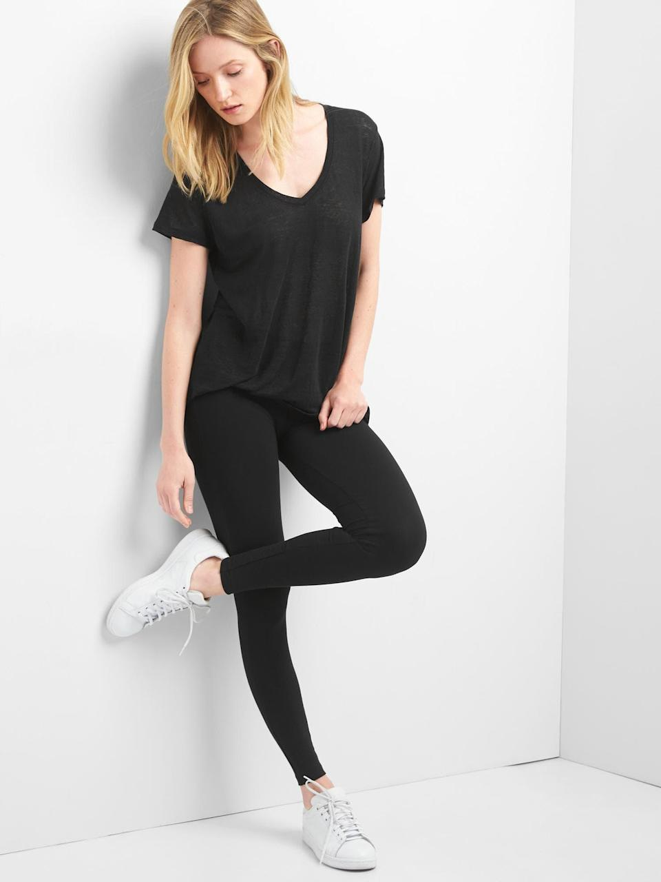 """<strong><h3>Gap: The Lounge Legging</h3></strong><br>Looking for a pair of leggings that are as basic as they come? Look no further. This tried and true Gap pair will have you buying more than one so you can keep them in constant rotation.<br><br><strong>The hype:</strong> 4.5 out of 5 stars and 801 reviews on Gap<br><br><strong>What they're saying:</strong> """"I own 5 pairs of these. Two are in constant rotation and three are back ups because I'm afraid Gap will stop making them. They are quite long which is no problem because I always wear them inside boots. I find they fit large overall side I sized down. I take care not to wash them with anything cotton or light colored, and I *try* to hang them to dry after putting them through the machine. They are holding up very well. I highly recommend them as a basic style but really good legging."""" - MsdotQ, Gap Review<br><br><strong>Gap</strong> Basic Black Jersey Leggings, $, available at <a href=""""https://go.skimresources.com/?id=30283X879131&url=https%3A%2F%2Fwww.gap.com%2Fbrowse%2Fproduct.do%3Fcid%3D1088813%26pcid%3D1011761%26vid%3D1%26pid%3D905272012"""" rel=""""nofollow noopener"""" target=""""_blank"""" data-ylk=""""slk:Gap"""" class=""""link rapid-noclick-resp"""">Gap</a>"""