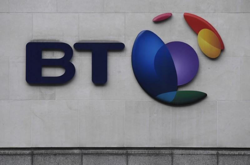 The logo for the British Telecom group is seen outside of offices in the City of London, Britain