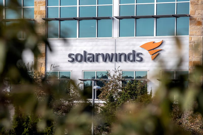 FILE PHOTO: Exterior view of SolarWinds headquarters in Austin
