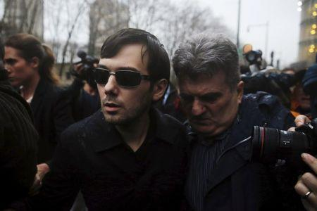 Shkreli, chief executive officer of Turing Pharmaceuticals and KaloBios Pharmaceuticals Inc, departs U.S. Federal Court after an arraignment following his being charged in a federal indictment filed in Brooklyn in New York