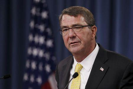 Carter holds a news conference at the Pentagon in Arlington, Virginia
