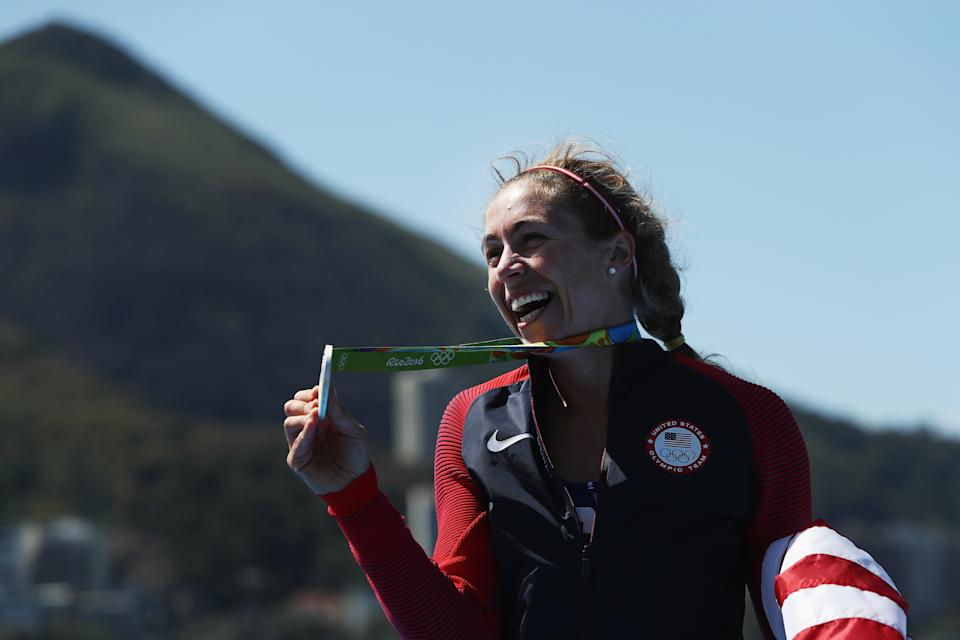RIO DE JANEIRO, BRAZIL - AUGUST 13:  Silver medalist Genevra Stone of the United States celebrates after the medal ceremony for the Women's Single Sculls on Day 8 of the Rio 2016 Olympic Games at the Lagoa Stadium on August 13, 2016 in Rio de Janeiro, Brazil.  (Photo by Buda Mendes/Getty Images)