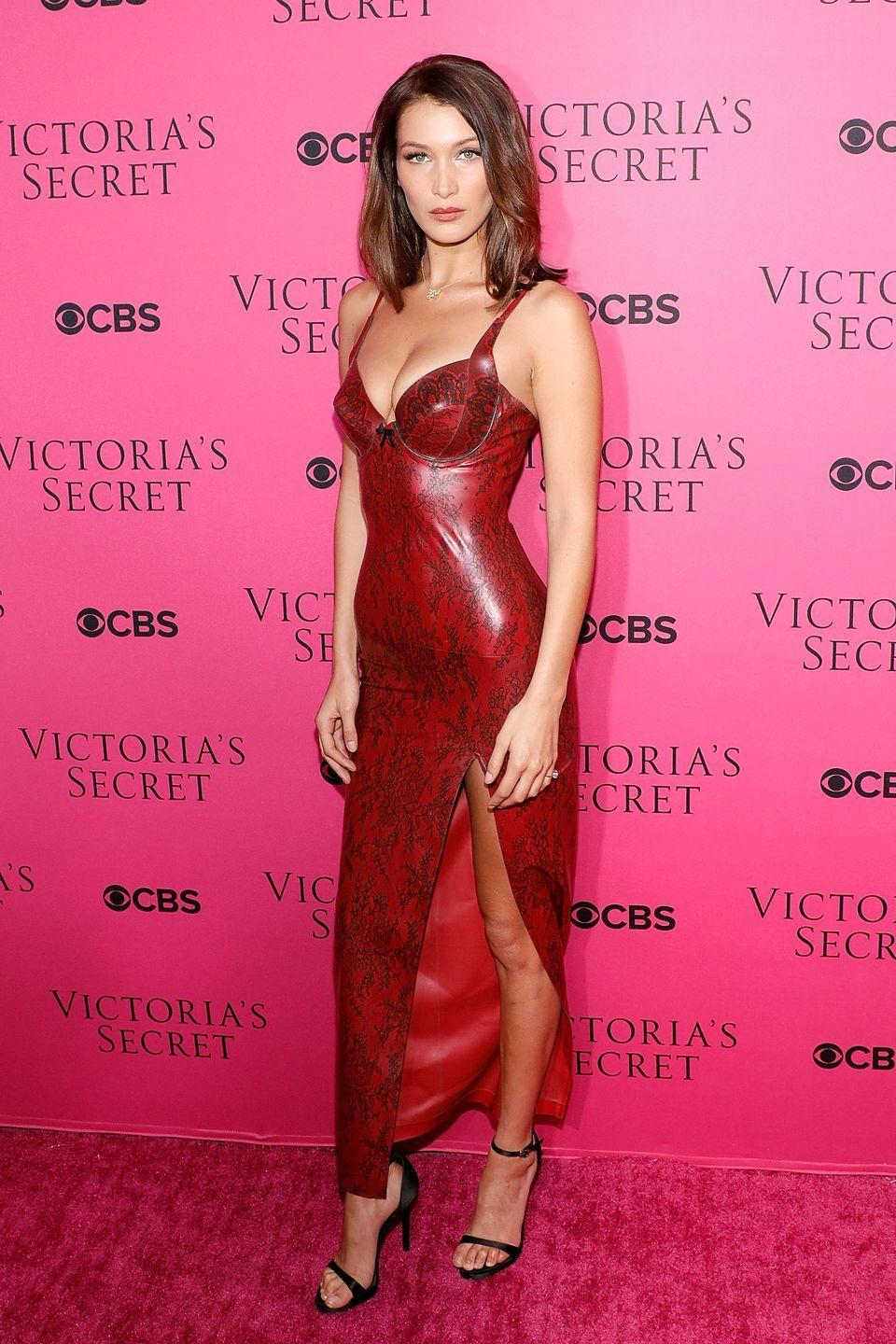 <p>Bella Hadid wore this skintight number fore the Victoria's Secret cast viewing in November, 2017.</p>
