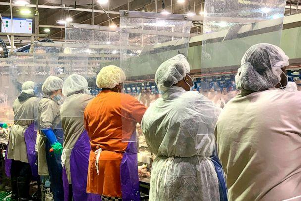 PHOTO: In this April 2020, photo provided by Tyson Foods, workers wear protective masks and stand between plastic dividers at the company's Camilla, Georgia poultry processing plant. (Tyson Foods via AP)