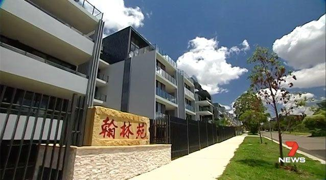 Three Chinese characters have sparked controversy at a Sydney apartment complex. Picture: 7 News