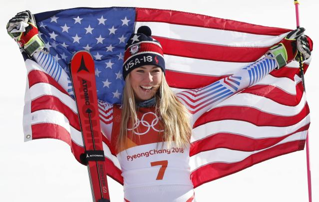 <p>Gold medalist Mikaela Shiffrin of the U.S. celebrates during the victory ceremony. </p>